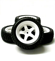 9061 1/10 Scale RC Car Off Road 5 Spoke Wheel and Rally Tread Tyre White x 4
