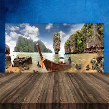 Crédence de cuisine en verre Panneau 120x60 Paysage Bateau Montagnes Pierres