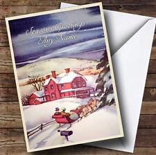 Noche de nieve Vintage Tradicional Personalizado de tarjeta de Navidad