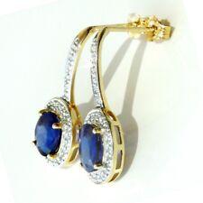 NEU Saphir Diamant Ohrringe 3,36 ct 585er Gelbgold 14 Kt Edelstein Ceylon Safir