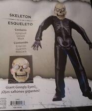 Giant Googly Eyes Boys Skeleton Halloween Costume M (8-10) Brand New 2017