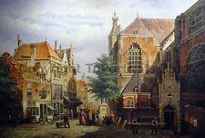 "Old Dutch Town Street Scene, Original Landscape Oil Canvas Painting, 36"" x 24"""