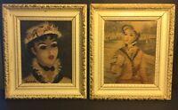 Lot of 2 Vintage 1950's Huldah Prints Art Framed