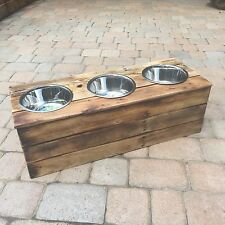 Triple Large Elevated Dog Dish // Large 3 Bowl Feeding Stand // Dog Dish // Elev