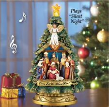 LED Musical Tree Nativity Christmas Tabletop Centerpiece Silent Night Wreath New