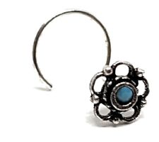 Nose Stud Sterling Silver 22g (0.6 mm)Turquoise Bali Rose Exotic Curl Screw Stud
