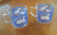 Vintage Carlton Luminarc 2 Goose Ducks Mugs Cup Blue Clear Glass 1982