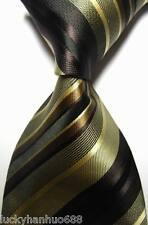New Classic Stripes Brown Beige Black JACQUARD WOVEN 100% Silk Men's Tie Necktie