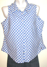 Tommy Hilfiger Blue & White Gingham Sleeveless Button Down Shirt Size 16