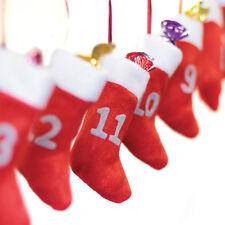 Medias de Navidad Calendario de Adviento 24 bolsas de regalo de fieltro NUMERADA & Cinta Colgante