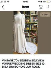 VOGUE VINTAGE 70s BELINDA BELLVILLE WEDDING DRESS SIZE 10 BIBA ERA GLAM ROCK