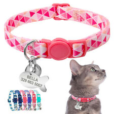 Breakaway Kitten Cat Collar Personalised ID Tag Safety Release Buckle with Bell