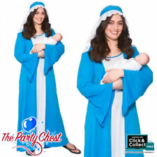 ADULT VIRGIN MARY COSTUME Nativity Christmas Blue Mary Fancy Dress Outfit M4588