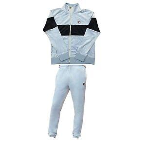 Fila Men's Velour Sweatsuit Tracksuit Baby Blue & Navy Size 2XL NWT Velvet