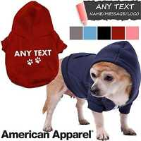 American Apparel PERSONALISED DOG HOODIE WARM FASHION POPPY ZOODIE COAT ZIP GIFT