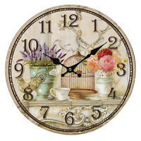 Floral Vintage Shabby Chic Style 34cm Wall Clock Home Bedroom Kitchen Quart P7G2