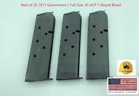 3 Magazines .45 ACP USGI GI Colt 1911 Pistol Mag Clip 45 AUTO 7 Round Government