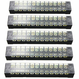HONJIE 12 Positions Screw Terminal Strip Blocks Dual Row 600V 25A with Cover Type TB-2512 Screw Rail Base Connector Bar