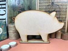 WOODEN PIG FREESTANDING SHAPE 30cm Stand Table Decoration Wood Farm Blackboard
