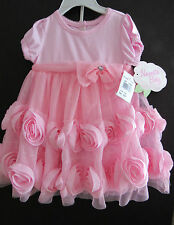 NWT INFANT GIRLS PINK NET 3D FLORAL NANNETTE BABY DRESS w/ PANTIES  SIZE 6-9 MO