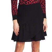 CeCe Womens Skirt Rich Black Size 4 Ruffle-Hem Faux-Wrap Solid A-Line $79 576