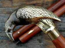 Antique Brass Raven Handle Designer Style Wooden Walking Stick Vintage Cane Gift