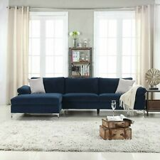 Modern Velvet Sectional Sofa, L-Shape Extra Wide Chaise, Navy Blue Free Shipping