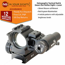 Holographic 4 reticle red green dot tactical reflex sight with laser & tri-rails