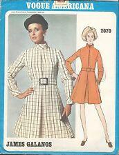 VTG 60's VOGUE DESIGNER JAMES GALANOS PATTERN 2070 Mod Belted Dress Sz 14 UNCUT