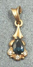 Diamond & Sapphire Womens Pendant 9ct Yellow Gold Fine Jewelry