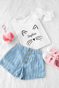 Girls Personalised Cat T-Shirt Kitty Kitten Design for Animal Lovers I Love Cats