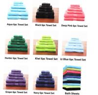 6-Piece Towel Set - 2 Bath Towels, 2 Hand Towels, and 2 Washcloths - 100% Cotton