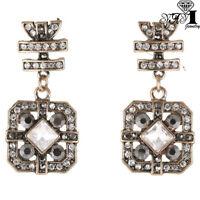 Hot Red Glass Crystal Ear Drop Dangle Stud Ancient Gold long Tassels Earrings