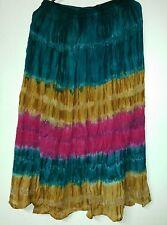 """36"""" Long TIE DYE Rayon Skirt Drawstring Waist FREE SIZE (77) Green Orange Red"""
