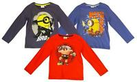 Boys Top Long Sleeve Tee Minions Caveman Not Impressed T-Shirt 3 to 8 Years