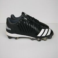 ADIDAS Icon MD Baseball Cleats Black White Kids Boys Youth Size 3