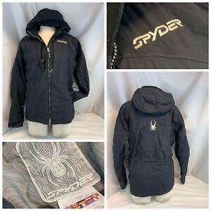 Spyder Hoodie Ski Jacket Sz 6 Black Nylon Zip Multi-Pockets Lined YGI H0-117
