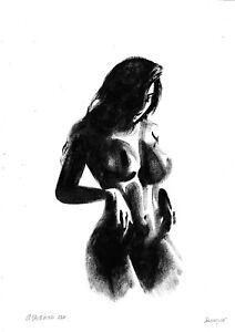 original drawing A3 245OJ art samovar female nude oil dry brush figure