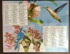 Calendrier 2016 La Poste, PTT, oiseaux, fleurs
