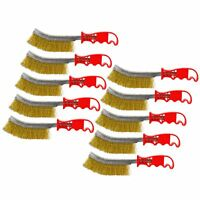 Brass Plated Crimped Wire Rust Removal Cleaning Hand / Spid Brush 10 Pack AU020