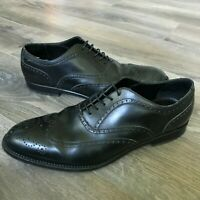 Dunhill London Men's Brogue Blk Lace-Up Wingtip Dress Shoes Size 8 Made in Italy