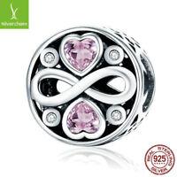 Infinity Love Pink Heart Crystal Beads Fit 925 sterling Original Charm Bracelets