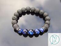 Lava/Blue Tiger Eye Natural Gemstone Bracelet Beaded 6-9'' Elasticated Healing