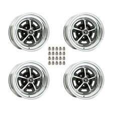"""Magnum 500 Wheels Kit with Black Mustang Wheel Caps and Lug Nuts 15"""" X 7"""""""