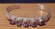 Sterling Silver 925 Oval & Pear Purple Amethyst Fancy Design Cuff Bracelet