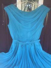 VTG 50s 60s Elinor Gay Turquoise Of Chiffon Party FULL CIRCLE SKIRT Wedding/Prom