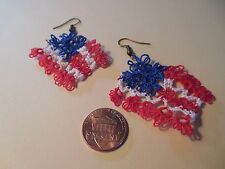 1 Set of TATTED  USA Flag Earrings  Red White Blue By Dove Country Tatting