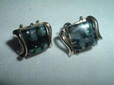 Vintage Coro Glitter Confetti Lucite Silvertone Clip Earrings in Gift Box