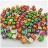 100PCS 6MM AB MULTI/YELLOW Mixed A-Z Alphabet Letter Acrylic Cube BEADS