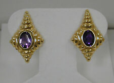 1.70 CT OVAL AMETHYST EARRINGS~14K YELLOW GOLD TEXTURED SETTING~ESTATE